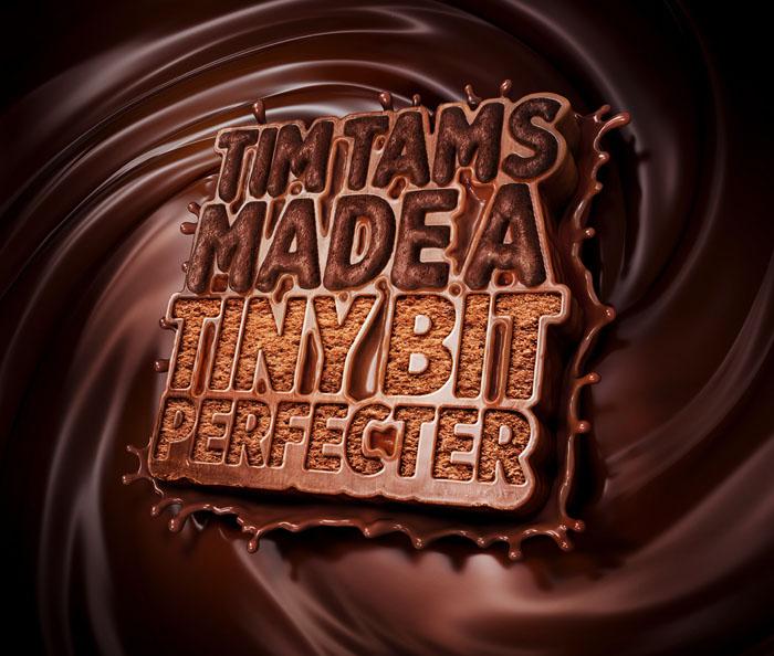 国外Tim Tam巧克力立体字设计