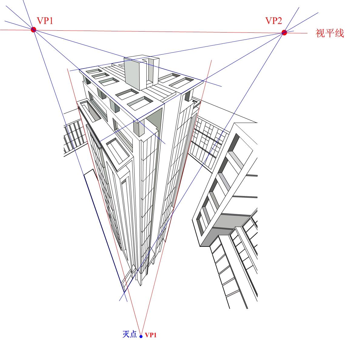 手绘建筑透视图