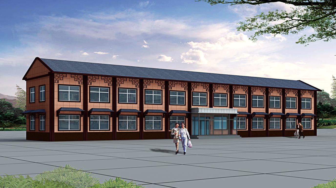 新中式建筑外立面手绘