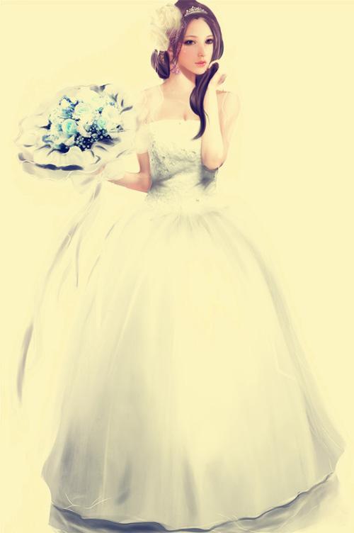 婚纱模特图片变素描