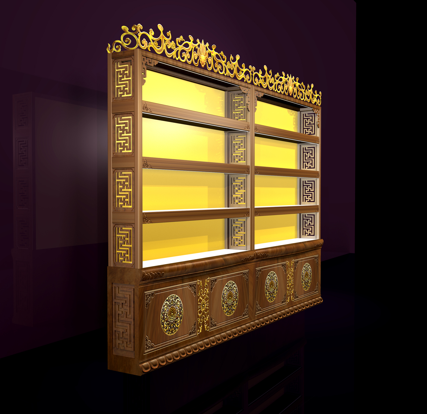 中式展示柜-3D柜台设计