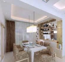 滨江新城普通住宅3室2厅2卫现代装修案例效果图