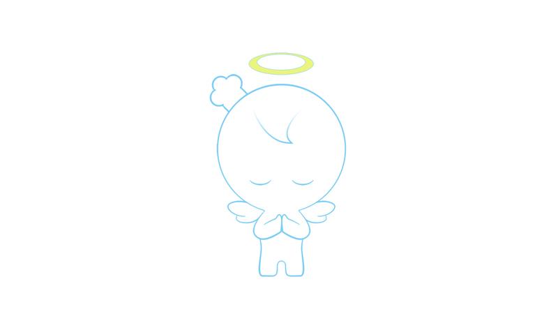 简约线条的天使