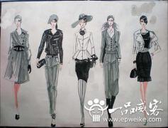 服装设计手稿图_手绘服装设计图的画法