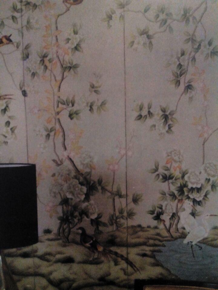 威斯汀酒店(XIAMEN)总统套房小会议室-手绘画十八世纪中国风格花鸟图屏风