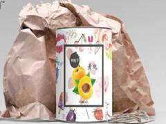 黄桃罐头包装箱以及瓶贴设计
