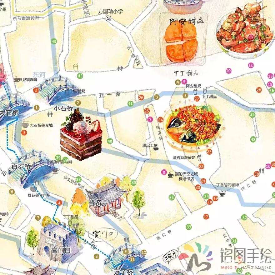 吉祥半岛_丽江古城手绘地图-铭图手绘案例展示-一品威客网