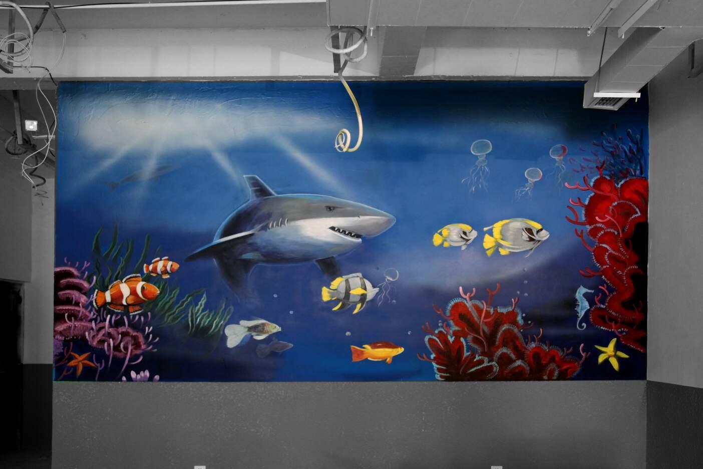 蒸汽海鲜餐厅手绘墙