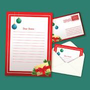 卡通红色圣诞节信封设计