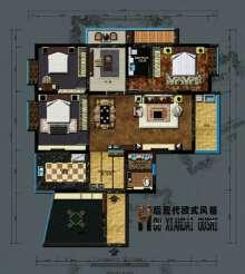 室内设计案例平面图及草图大师施工图