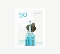 极简的城市风光插画邮票设计