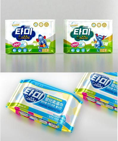 婴儿纸尿裤湿纸巾包装设计