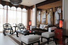 新中式风格200平四居家庭客厅沙发茶几壁画装修效果图