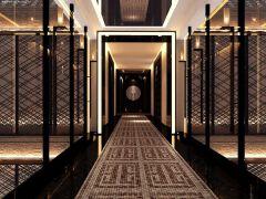 中式会所黑色走廊装修过道效果图