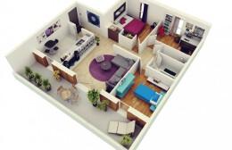 三居室小户型装修3D布局实景效果图欣赏