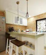美式田园厨房吧台吊顶装修效果图