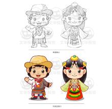 藏族男女卡通形象设计
