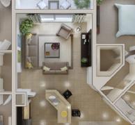 温馨舒适的3d效果室内装修案例欣赏