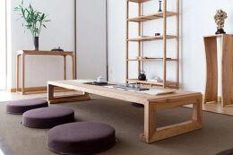 老榆木矮茶桌榻榻米茶几飘窗桌炕实木炕桌禅意免漆家具定制