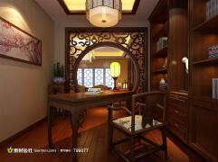 中式经典复古家居书房装修三维设计图