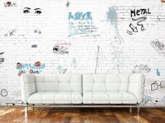抽象复古文化咖啡厅手绘墙设计欣赏