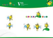 加拿大greenbud儿童服装品牌logo及卡通形象设计