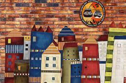 城市建筑咖啡厅手绘墙装修设计欣赏