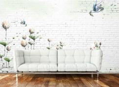 淡雅清新咖啡厅手绘墙装修设计欣赏