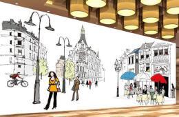手绘怀念街角咖啡厅手绘墙设计欣赏