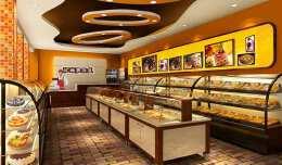 灯光设计出彩的蛋糕店面装修效果图