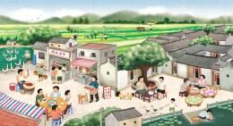 广州潮家人主题餐厅墙画手绘插画设计