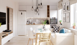 白色和木质纹理搭配的4个小公寓装修设计