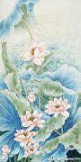 荷花中国风手绘墙案例欣赏