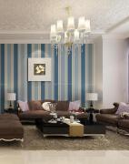 地中海风格客厅墙纸液体墙纸装修设计欣赏