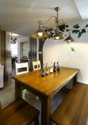 田园风格餐厅手绘墙样板房设计图片