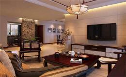 素净的新中式风格客厅装修效果图