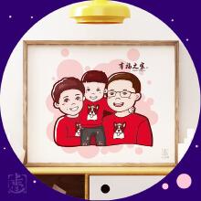 威客服务:[29553] 【手绘Q版卡通形象-三人】三口之家/全家福