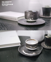 茶艺黑白陶茶具拍摄