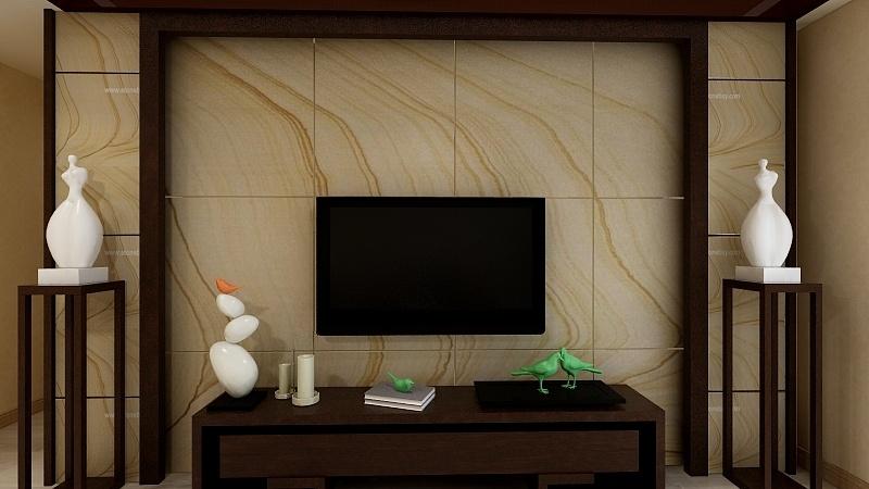 现代中式风格《客厅电视立面墙》效果图