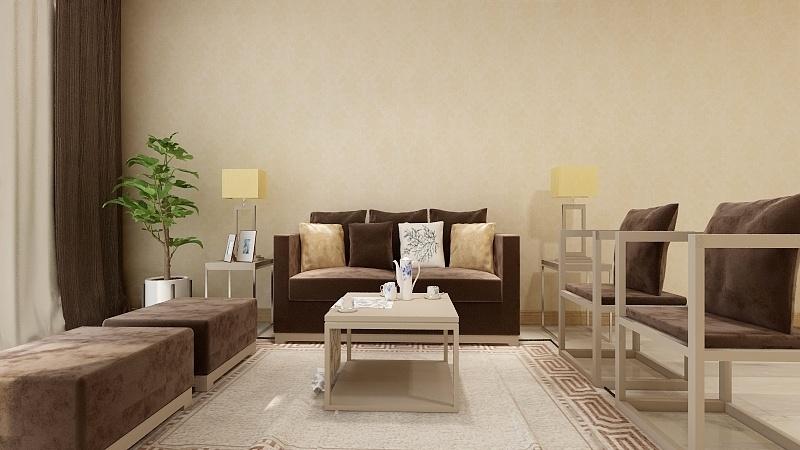 现代中式风格《客厅沙发立面》效果图