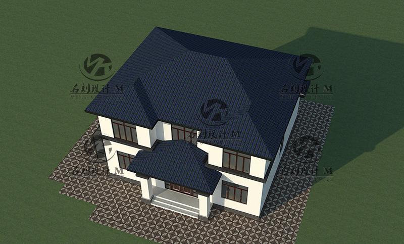 上海现代中式别墅自建房住宅豪宅设计14米×13.2米二层