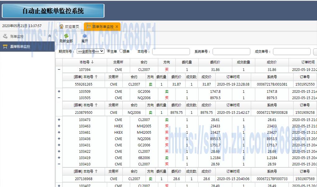 期货交易记录、跟单记录的网站监控系统