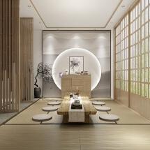 新中式茶室装修效果图设计