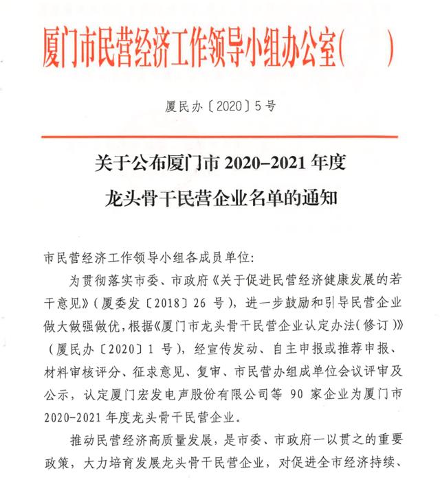 """一品威客获""""厦门市2020-2021年度龙头骨干民营企业""""荣誉"""