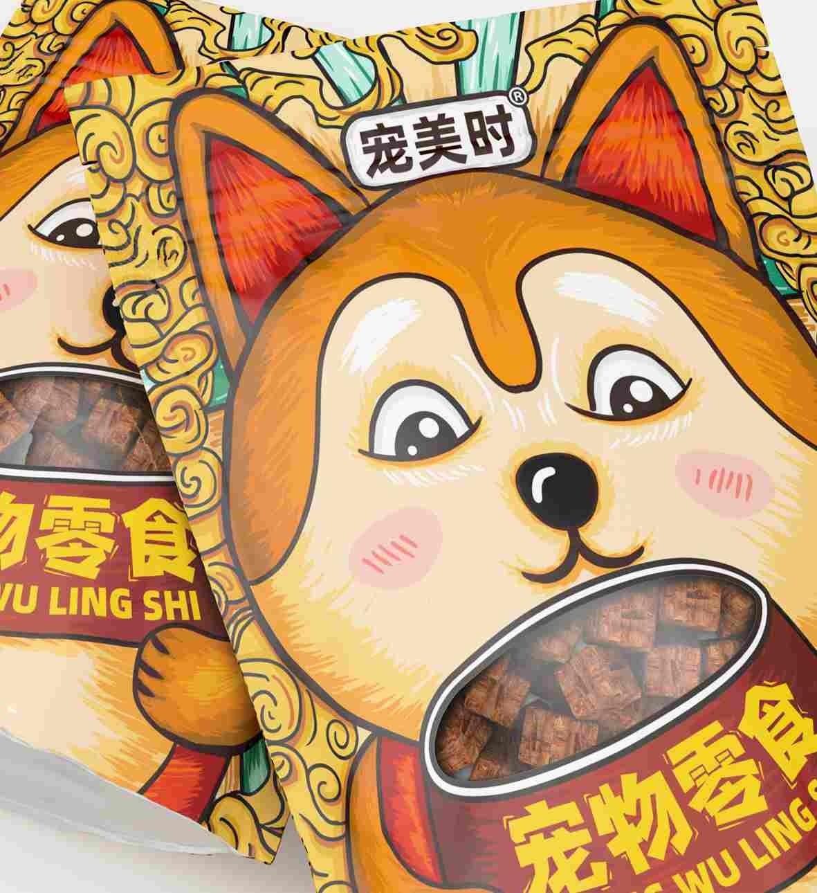 国潮风宠物零食包装袋设计