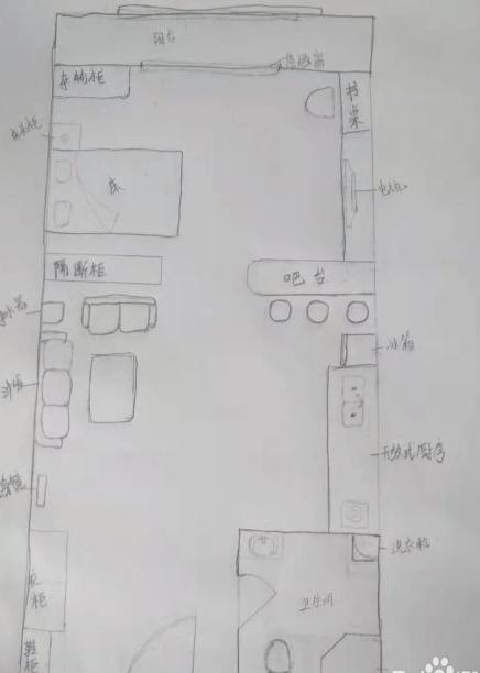 40平左右一居室單身公寓設計