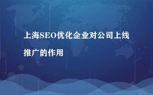 上海SEO优化企业对公司上线推广的作用