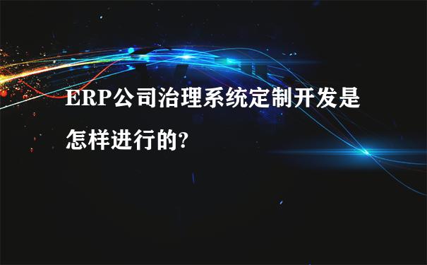 ERP公司治理系统定制开发是怎样进行的?