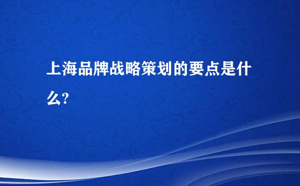 上海品牌战略策划的要点是什么?