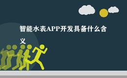 智能水表APP开发具备什么含义